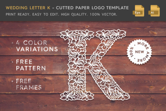 Wedding Letter K - Logo Template Graphic By Textures