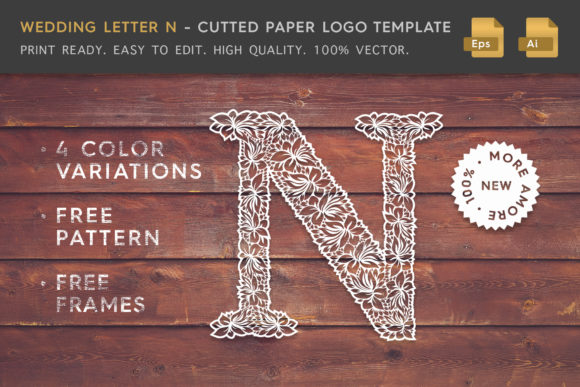 Wedding Letter N - Logo Template Graphic Logos By Textures