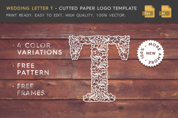 Wedding Letter T - Logo Template Graphic Logos By Textures