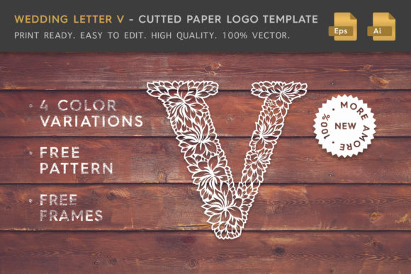 Wedding Letter V - Logo Template Graphic By Textures