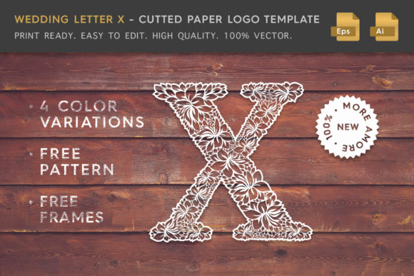Wedding Letter X - Logo Template Graphic By Textures
