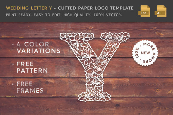 Wedding Letter Y - Cutted Paper Logo Graphic Logos By Textures