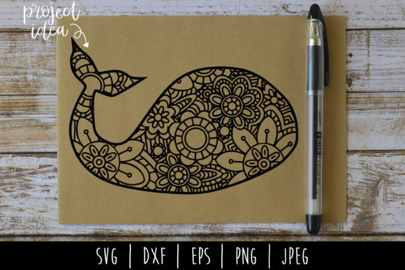 Download Free Whale Mandala Zentangle Graphic By Savoringsurprises Creative for Cricut Explore, Silhouette and other cutting machines.