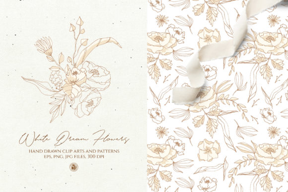 White Dream Flowers Graphic Illustrations By webvilla
