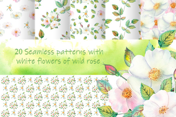Download Free White Flowers Of Wild Rose Background Graphic By Natika Art for Cricut Explore, Silhouette and other cutting machines.