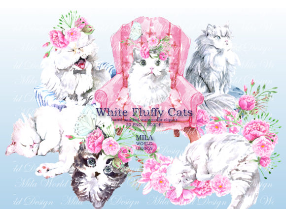 White Fluffy Cats Watercolor Clip Art Graphic Illustrations By MilaWorldDesing