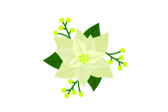 Download Free White Poinsettia Flower With The Leaves And Berries Svg Cut SVG Cut Files