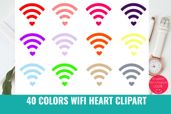 Print on Demand: Wifi Heart Graphic Illustrations By Happy Printables Club