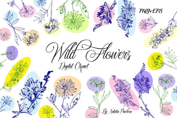 Wild Flowers Clipart with Summer Flowers Graphic By natalia.piacheva