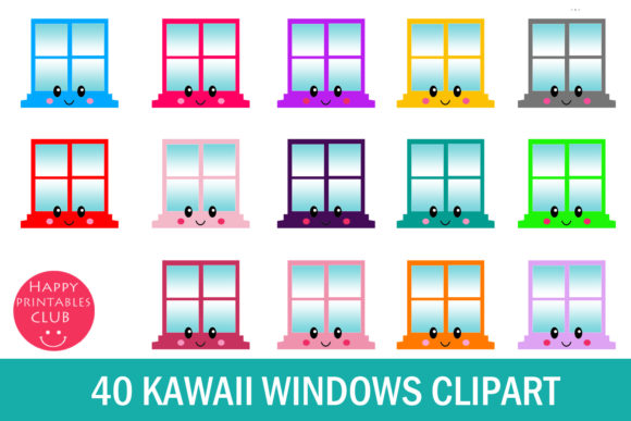 Print on Demand: Windows Clipart- Kawaii Window Clipart Graphic Illustrations By Happy Printables Club