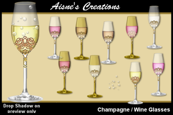 Print on Demand: Wine-Champagne Glasses Graphic Objects By Aisne