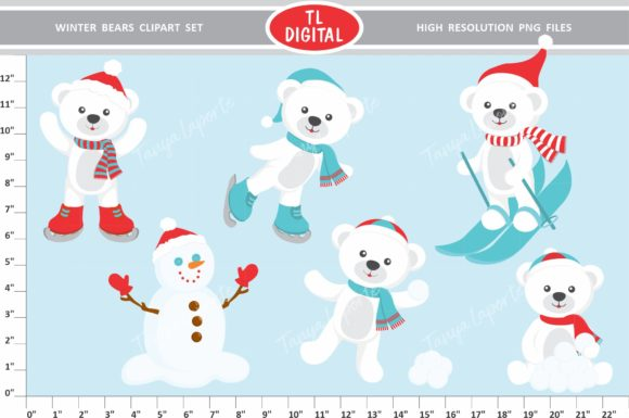 Winter Bear Clipart Set Graphic Illustrations By TL Digital