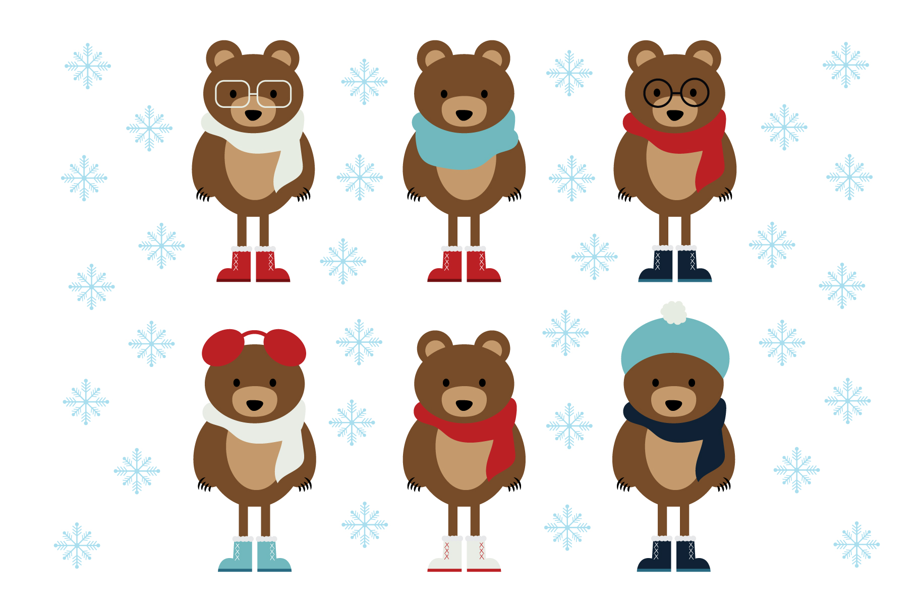 winter bears clip art set graphic by running with foxes. Black Bedroom Furniture Sets. Home Design Ideas