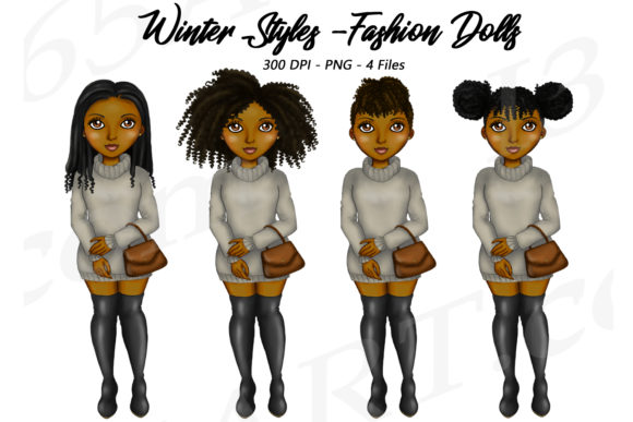 Winter Sweater Girls Natural Hair Graphic Illustrations By Deanna McRae