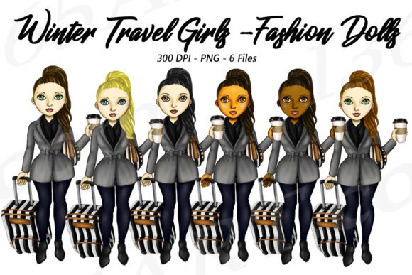 Winter Travel Fashion Girl Illustrations Graphic Illustrations By Deanna McRae