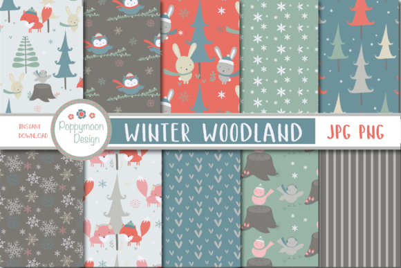 Print on Demand: Winter Woodland Paper Graphic Patterns By poppymoondesign