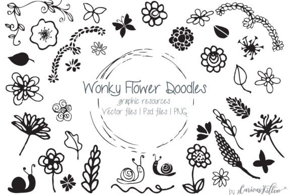 Wonky Flower Doodles Graphic Illustrations By curious-kitten
