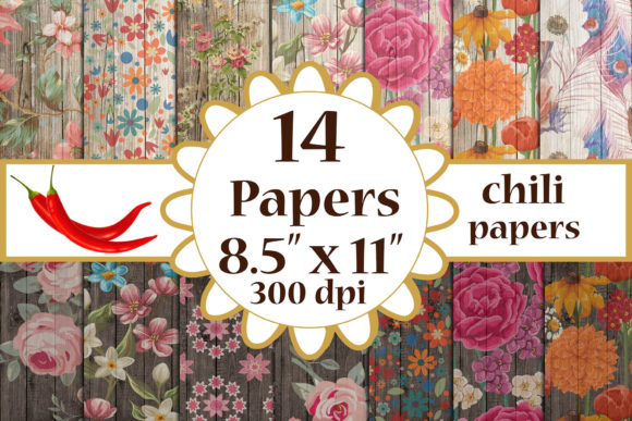 Wood Floral Paper, Floral Cottage Papers Graphic Crafts By ChiliPapers