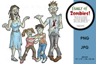 Zombie Family Halloween Graphic By SLS Lines