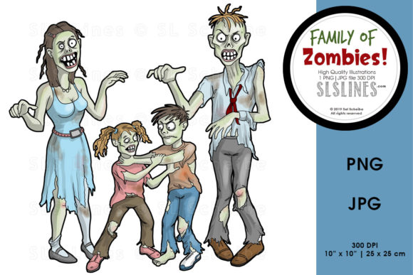 Print on Demand: Zombie Family Halloween Graphic Illustrations By SLS Lines