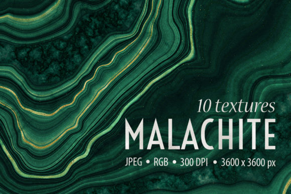 10 Malachite & Gold Geode Textures Graphic Textures By CatJello Graphics