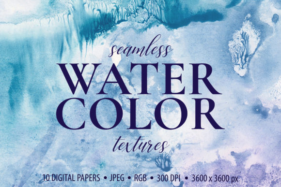 10 Seamless Watercolor Textures Graphic Backgrounds By CatJello Graphics