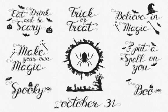 100 Hand Drawn Halloween Designs Quotes Graphic By Kirill S