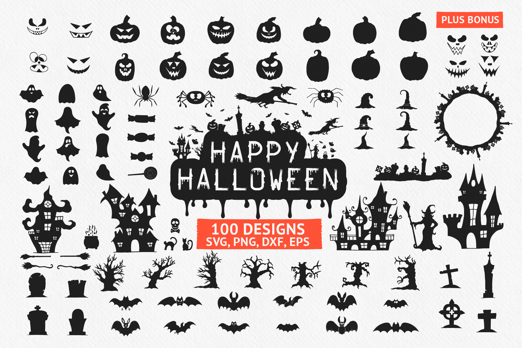 Download Free 100 Hand Drawn Halloween Designs Quotes Graphic By Kirill S for Cricut Explore, Silhouette and other cutting machines.