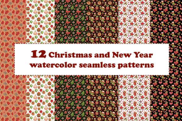 Print on Demand: 12 Christmas and New Year Patterns Graphic Patterns By VashaRisovasha