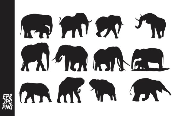 12 Elephant Silhouette Bundle
