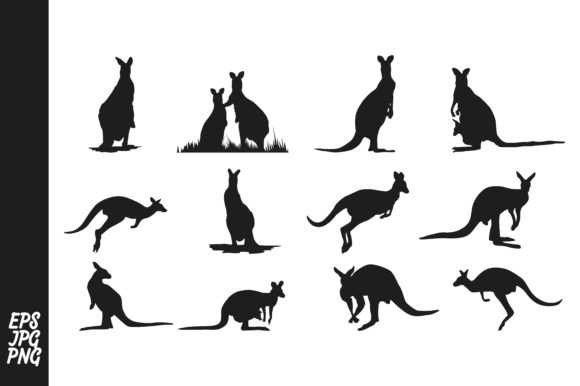 Print on Demand: 12 Kangaroo Silhouette Bundle Graphic Crafts By Arief Sapta Adjie