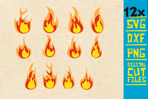 Download Free 12x Flames Bundle Fire Vector Graphic By Svgyeahyouknowme for Cricut Explore, Silhouette and other cutting machines.