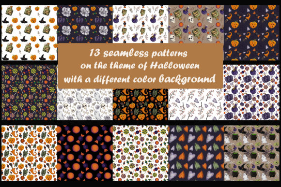 13 Seamless Patterns on Halloween Graphic By Mari_artchef