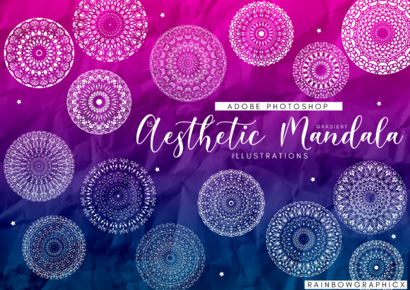 Print on Demand: 15 Aesthetic Gradient Mandalas Graphic Illustrations By RainbowGraphicx