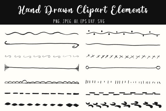 Download Free 15 Hand Drawn Clipart Elements Graphic By Creative Tacos for Cricut Explore, Silhouette and other cutting machines.