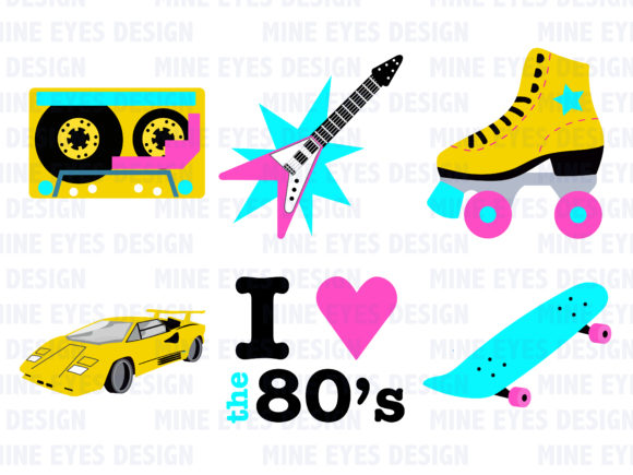 Print on Demand: 1980's Clipart Graphic Illustrations By Mine Eyes Design - Image 2