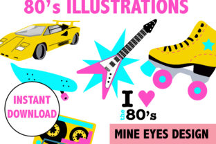1980's Clipart Graphic By Mine Eyes Design