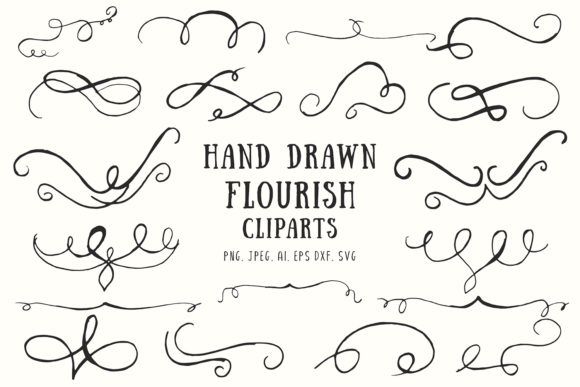Print on Demand: 20+ Flourish Hand Drawn Cliparts Graphic Illustrations By Creative Tacos - Image 1