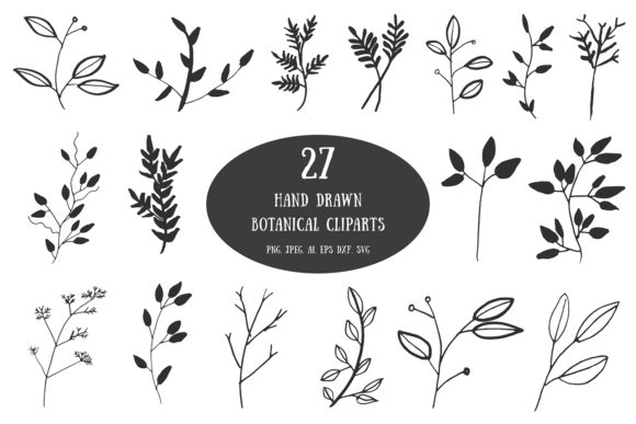 Print on Demand: 20+ Handdrawn Botanical Cliparts Graphic Illustrations By Creative Tacos