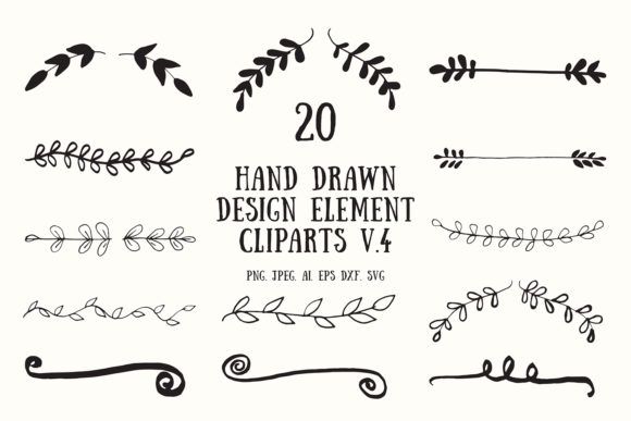 Print on Demand: 20 Handmade Design Element Clipart 4 Graphic Illustrations By Creative Tacos