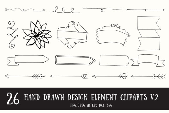 Print on Demand: 20+ Handmade Design Element Cliparts V 2 Graphic Illustrations By Creative Tacos