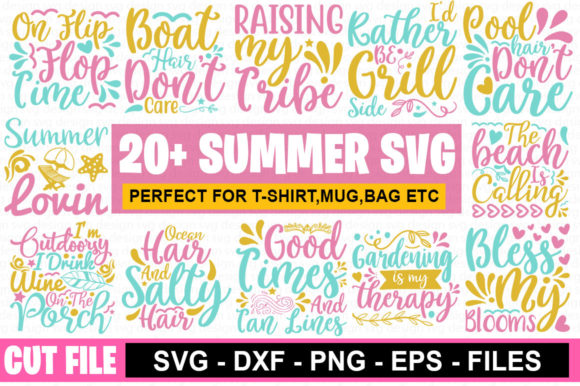 20 Summer Bundle Graphic Print Templates By Graphicsqueen