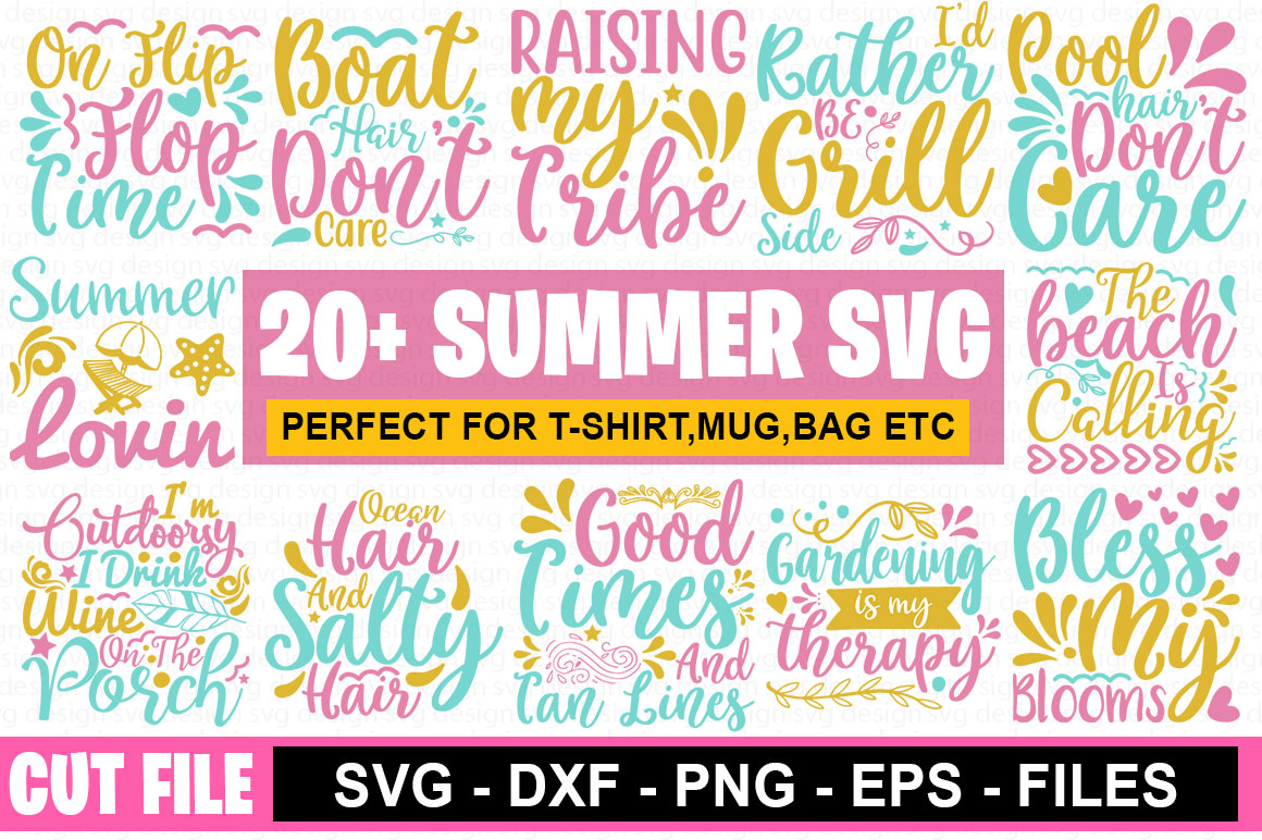 Download Free 20 Summer Bundle Graphic By Graphicsqueen Creative Fabrica for Cricut Explore, Silhouette and other cutting machines.