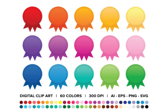 Print on Demand: Award Badge Button Clip Art Set Graphic Objects By Running With Foxes - Image 1