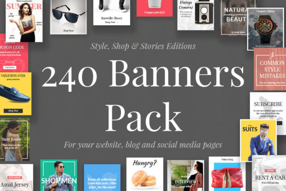 240 Banners Pack Graphic Web Elements By Web Donut