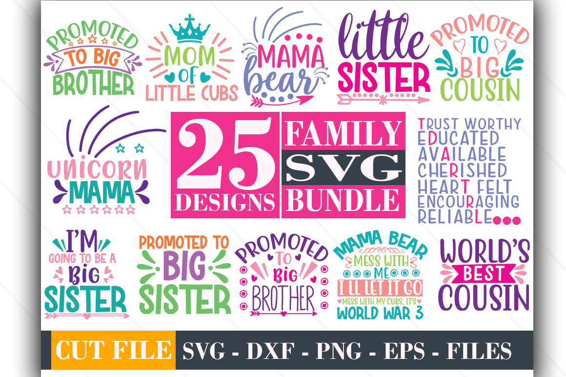 Download Free 25 Family Design Bundle Graphic By Graphicsqueen Creative Fabrica for Cricut Explore, Silhouette and other cutting machines.
