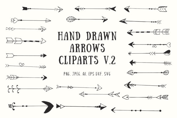 Download Free 25 Handdrawn Arrows Clipart Ver 2 Graphic By Creative Tacos for Cricut Explore, Silhouette and other cutting machines.