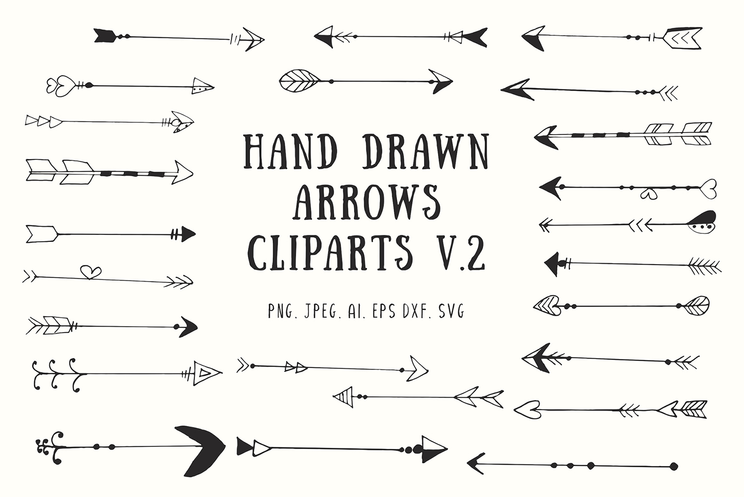 25 Handdrawn Arrows Clipart Ver 2 Graphic By Creative Tacos