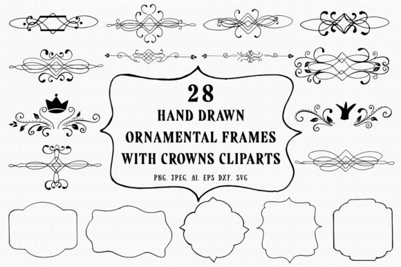 25+ Handmade Frames with Crowns Cliparts Graphic By Creative Tacos