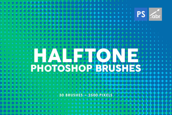 Print on Demand: 30 Halftone Gradients Photoshop Stamp Br Graphic Brushes By ArtistMef